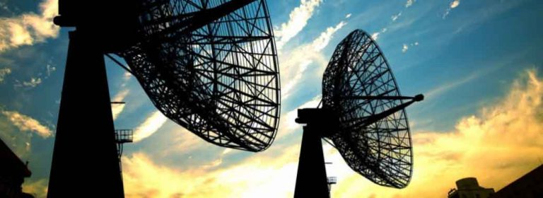 Two telecommunication industry satellites made from metal fabrication.